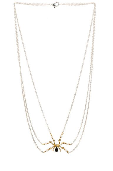 TOM BINNS | Gold Spider Necklace in Crystal