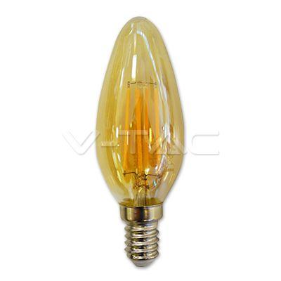 2,52€ Lampadina LED - 4W Filament E14 Candela Amber 2200K  SKU: 7113 | VT: VT-1955