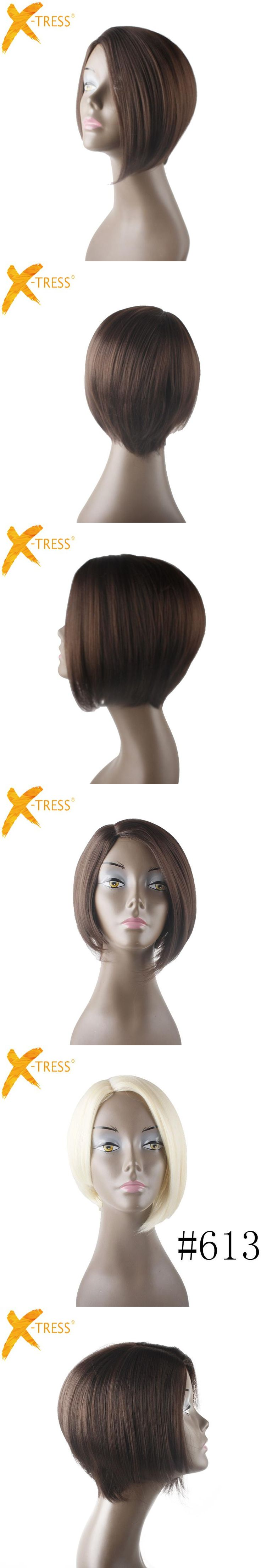 X-TRESS Short Straight Hair Wig With Bangs BOB Wigs For Black Women 12 Inches Heat Resistant Synthetic Wigs Side Parting Blonde