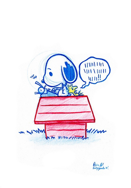 Woodstock tells Snoopy his woes