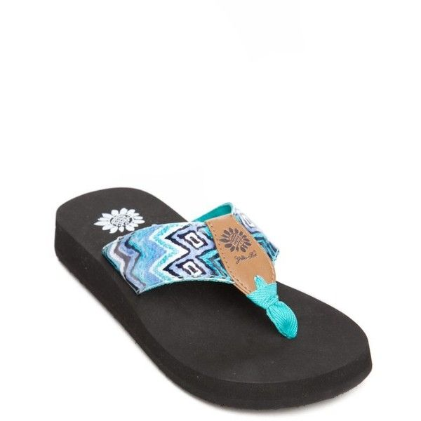 Yellow Box Turquoise Electra Zig Zag Flip Flop - Women's ($25) ❤ liked on Polyvore featuring shoes, sandals, flip flops, turquoise, zigzag shoes, multi colored shoes, yellow box shoes, turquoise flip flops and colorful sandals