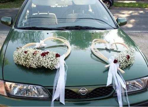 autódíszítés esküvőre - car decoration for wedding - Amaltheia Manufaktúra virág és dekoráció