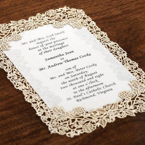 Laser Cut Gold Wedding Invitations | Vintage Laser Cut Invitation Kit -10pk