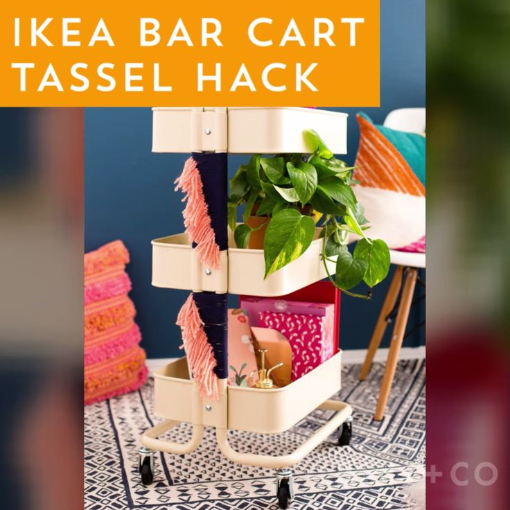 Watch this home decor video tutorial to give your IKEA bar cart a tassel hack upgrade.