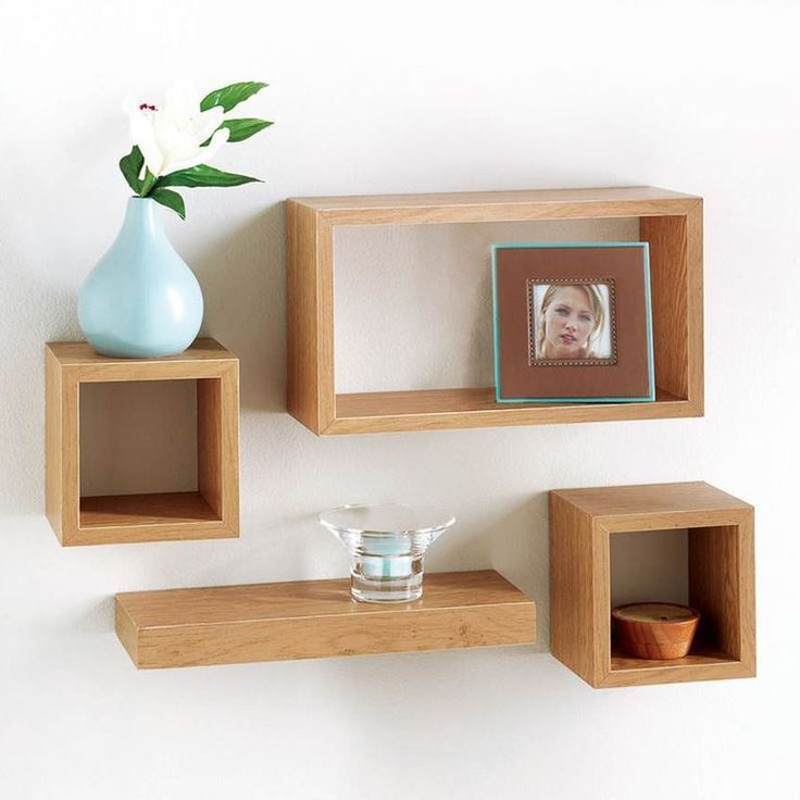 SET OF FOUR WOODEN MODERN FLOATING WALL SHELVES OAK NEW DISPLAY UNIT