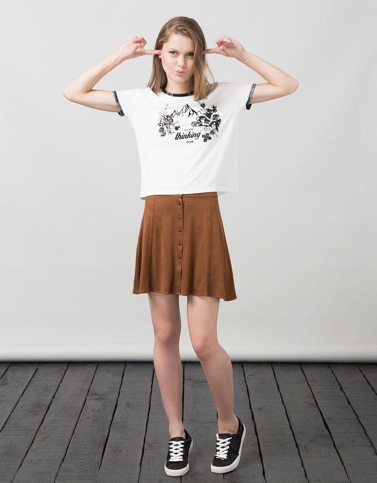BSK print top - T- Shirts - Bershka United Arab Emirates