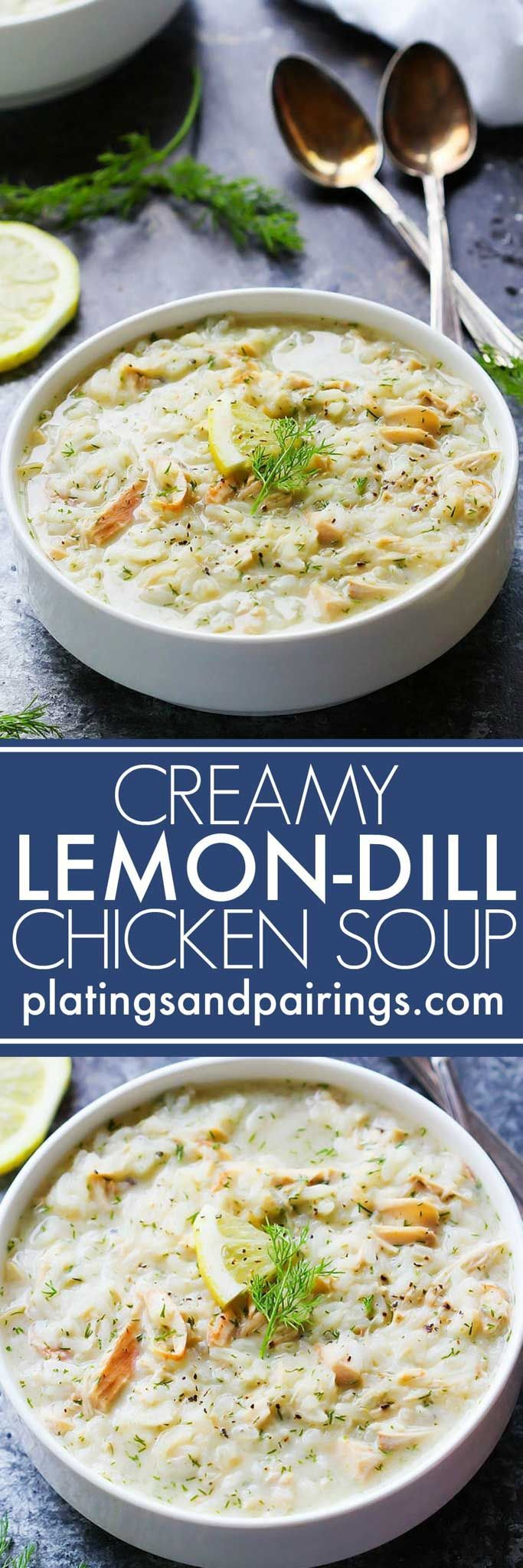 This Creamy Lemon Dill Chicken Soup is delicious with a hint of lemony brightness to warm you up on chilly winter days! | http://platingsandpairings.com