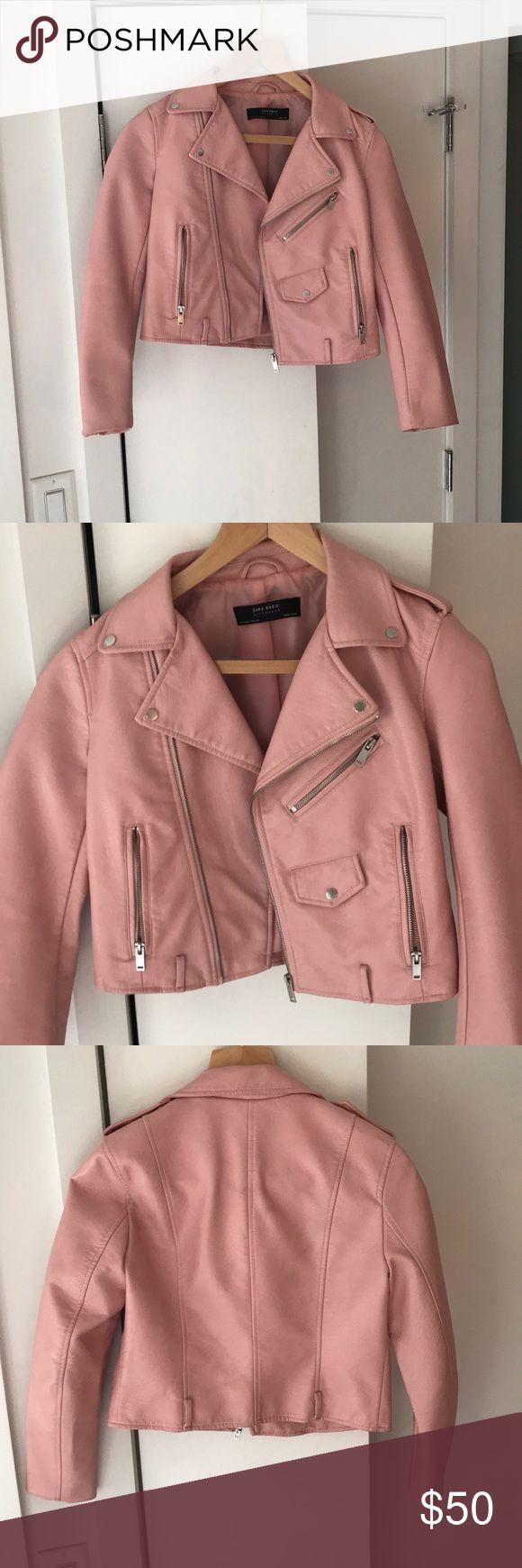 Zara Pink Leather Faux leather biker jacket, Pink