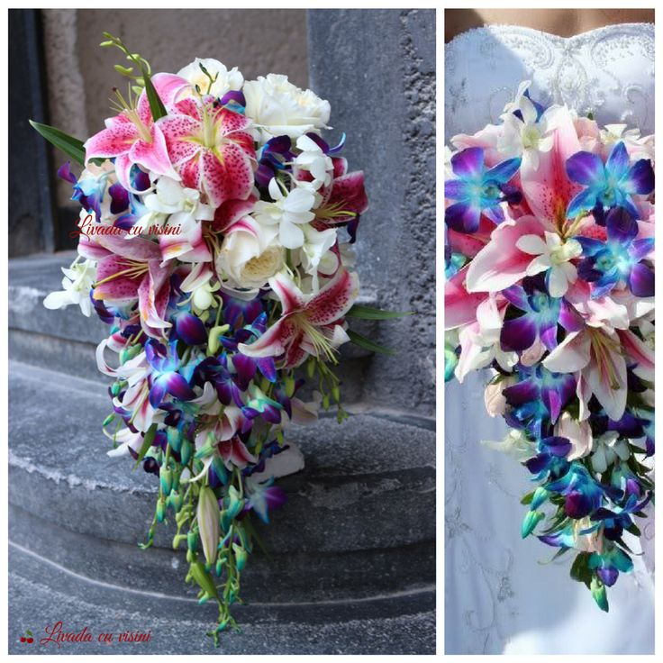 Buchet mireasa  #bride #wedding #bouquet #cascade #buchet #mireasa #cascada #teardrop #lacrima #lilies #crini #orhidee #blue #orchids  #davidaustin #roses #nunta #bucuresti