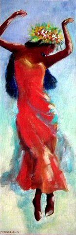 """Une danseuse de Hula, danse hawaienne qui est un moyen de raconter une histoire. Tableau à voir sur mon site : www.francoise-mengelle.com, galerie """"carnet de voyage"""""""