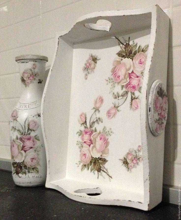 Купить Поднос Винтажные розы - белый, розы, Декупаж, винтаж, шебби-шик, поднос, кухня