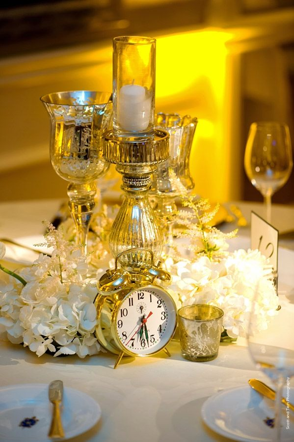 New Year S Eve Wedding White Floral Gold Clocks