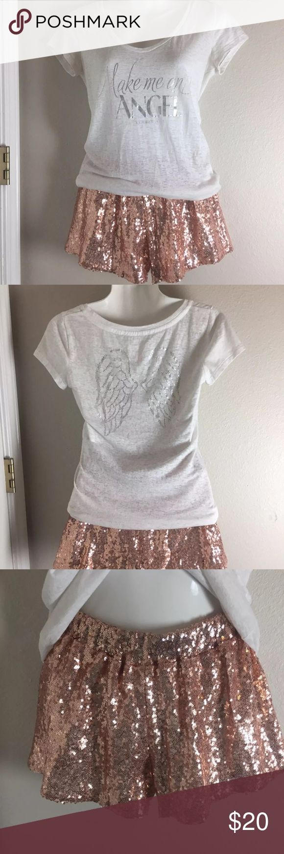 Rose Gold Sequin Shorts & VS Shirt. Small Rose Gold Sequin Shorts & VS Shirt. Small! Shorts really Stand out !! Perfect Condition on Shorts! Not skin tight .. so would prob fit a Med! Shirt is size Small as well . Good Condition! Both together or separate! PINK Shorts