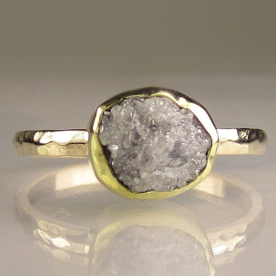 ooak recycled rose ring rings rough cut diamond gold media engagement