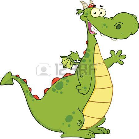 cartoon dragon: Zöld Sárkány Cartoon Mascot Karakter hullámzás üdvözlés illusztráció elszigetelt fehér