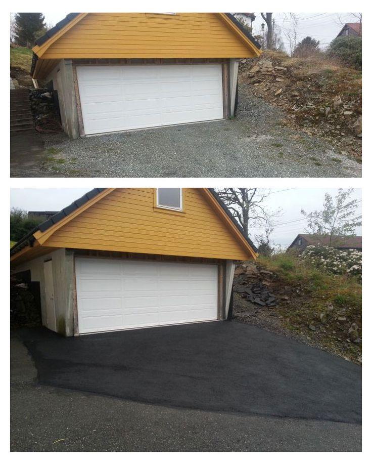 Fra #grus til #asfalt utenfor #garasjen.