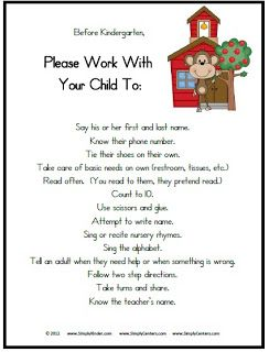 FREE Letters to parents about what we learn in Kindergarten and how to help at home. Love this!