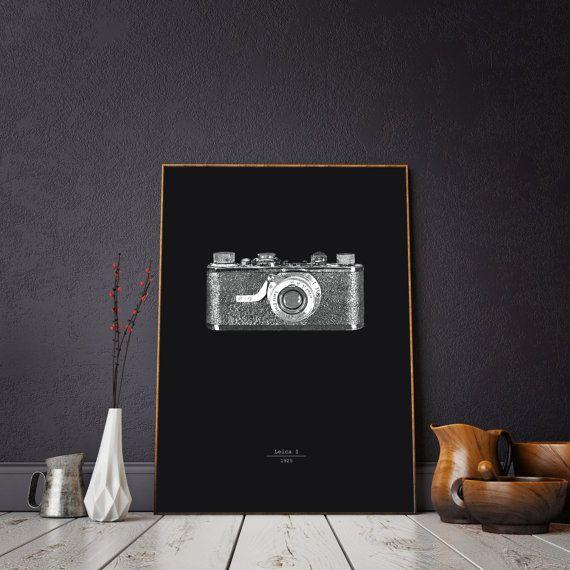 Leica vintage camera illustration interior decor wall di INKSdecor