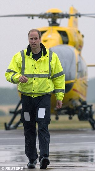 Pictured: Prince William on his first day working for the East Anglian Air Ambulance...