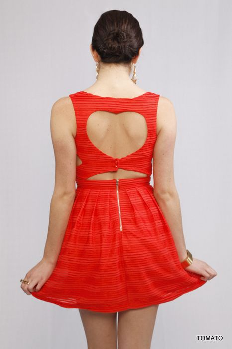 The cutest! Sleeveless red dress with heart back, cut outs on the side and exposed zipper. Va Va Va Voom! #heart #dress #cutout