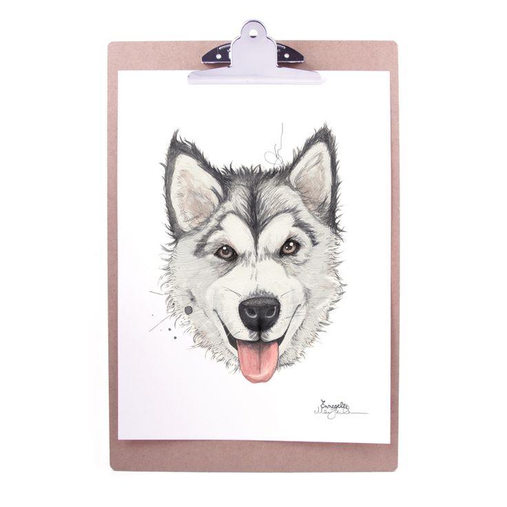 """Alaskan malamute"" Copyright: Emmeselle.no Illustration by Mona Stenseth Larsen"