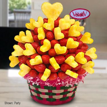 Lovely Strawberry Arrangement - Strawberries and pineapples never delicious like that. You can choose hand-dipped in dark, white or milk chocolate. This edible fruit arrangement is specially for your happy moments - www.VaaV.ca