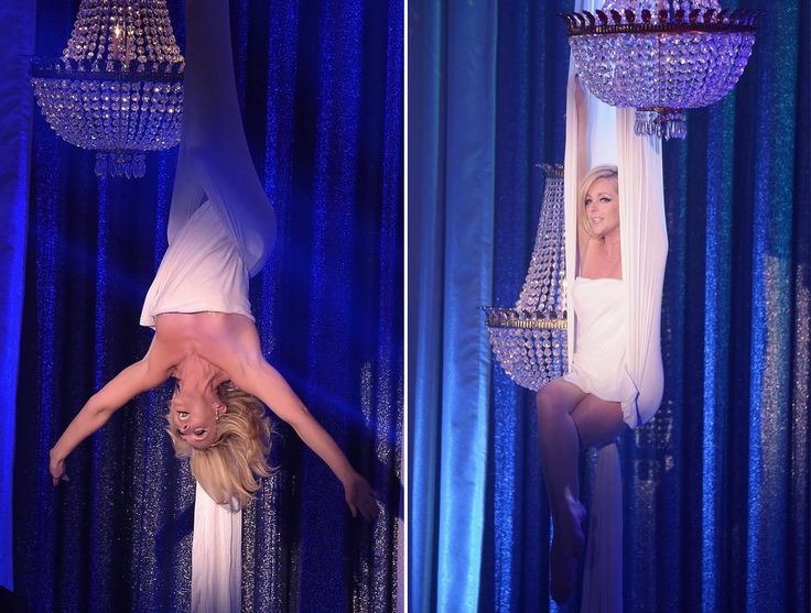 Jane Krakowski narrowly avoided a complete wardrobe malfunction while hanging upside down from the stage during her Roundabout Theatre Company Spring 2016 Gala performance.