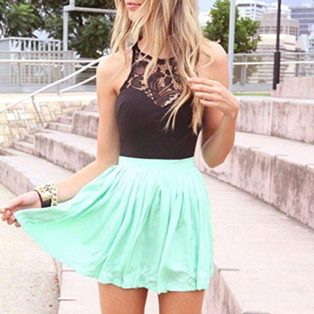 Amazon.com: Towallmark Women Casual Chiffon Sleeveless Ball Gown Sexy Lace Party Mini Dress
