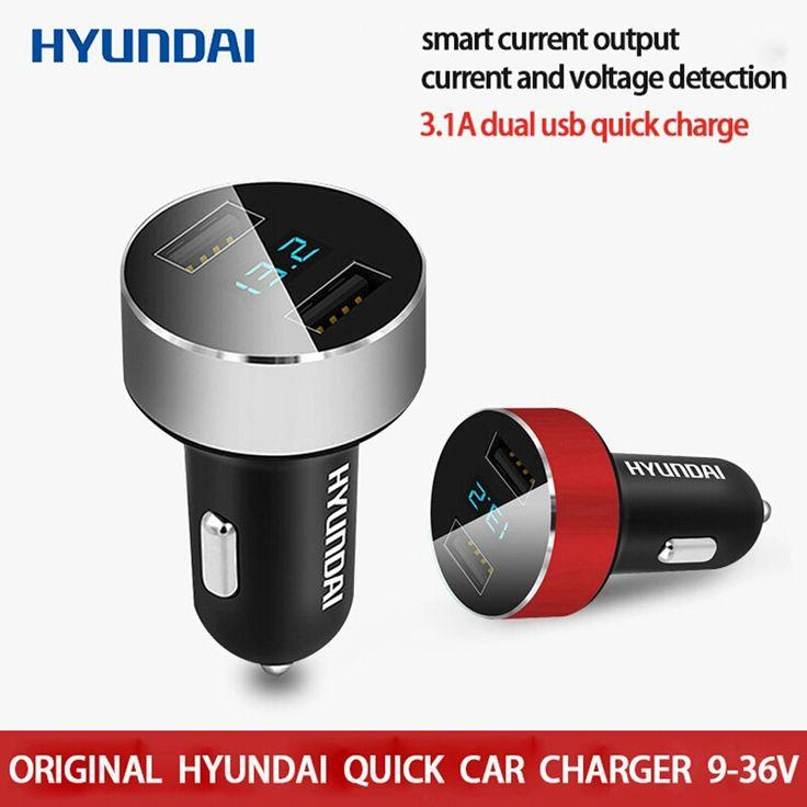HYUNDAI Car-Charger 5V 3.1A Quick Charger Dual USB Port LED Cigarette Lighter Phone Adapter Car Voltage carregador veicular