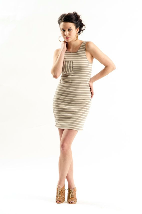 Grey and White striped tank dress