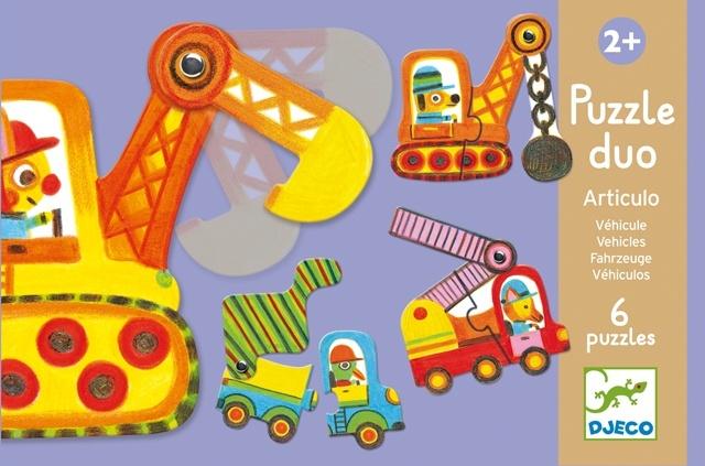 Djeco - Puzzle Duo Articulo Vehicles