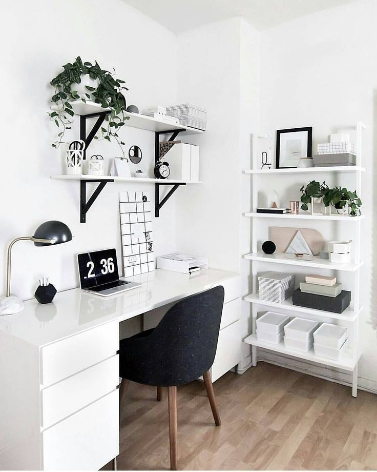 Minimalism Black And White Scandanavian Office / Study