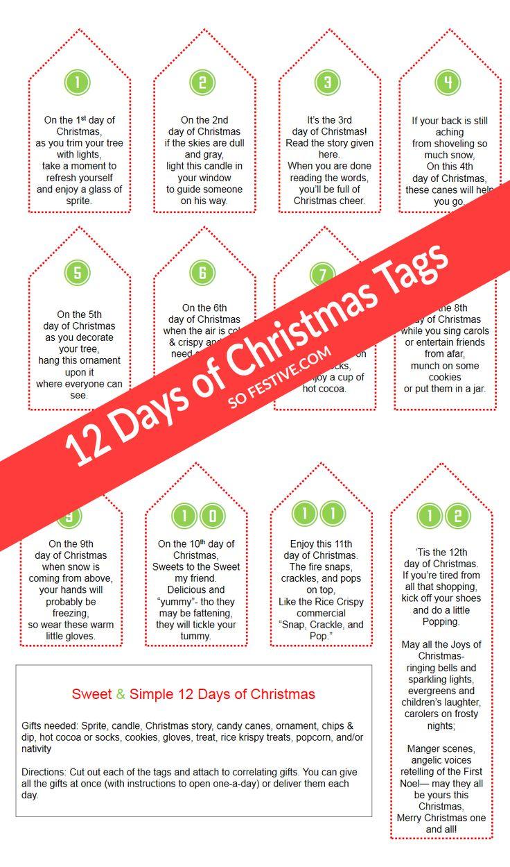 sweet simple 12 days of christmas printable tags an easy christmas gift ide