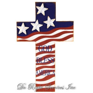 cross with american flag tattoo