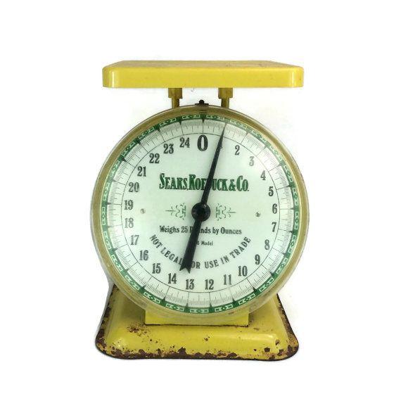 #Antique Scale Kitchen Scale Yellow Scale by #EndicottVintage #vintage #kitchen #farmhouse #decor #vintagedecor #midcentury #design #home #love
