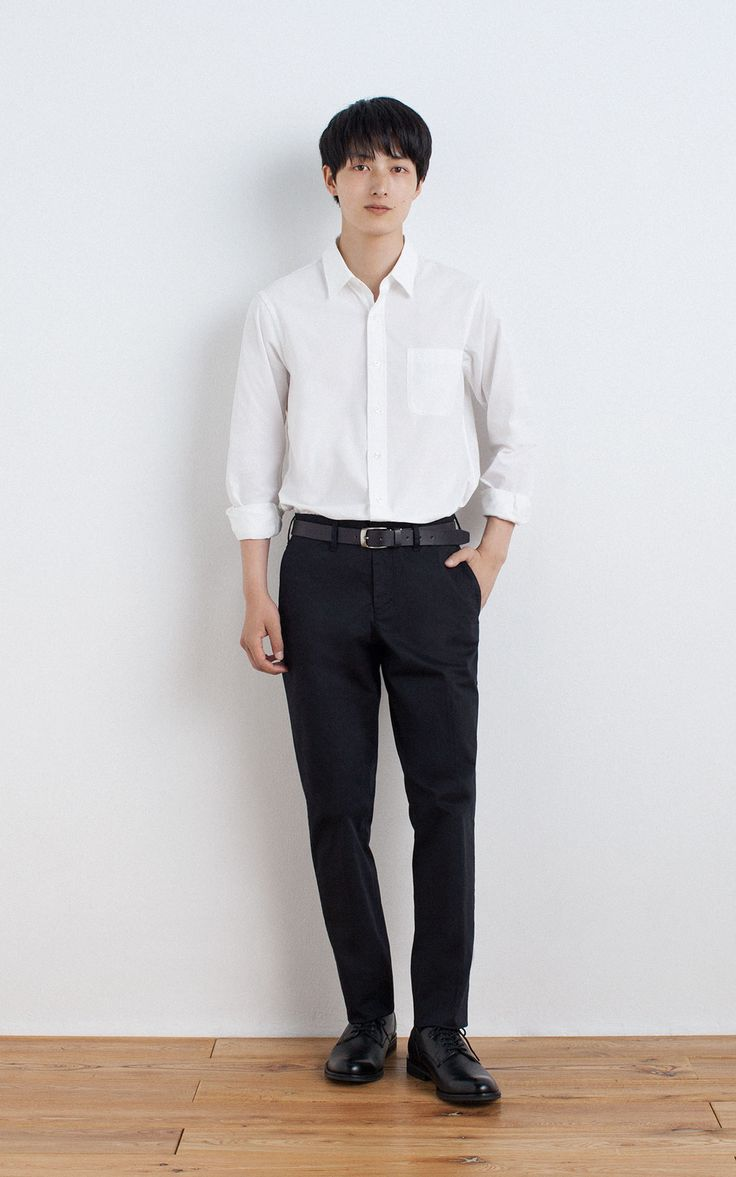 MUJI | ORGANIC COTTON BROAD WASHED SHIRT | OGC STRETCH CHINO SLIM TROUSERS | TANNED LEATHER HAND DYEING BELT