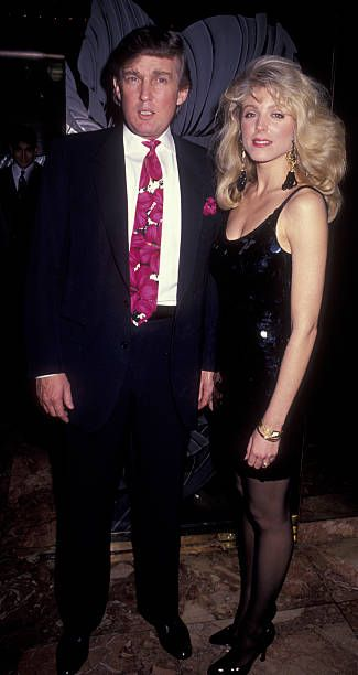 Donald Trump and Marla Maples attend Holyfield vs Foreman Boxing Match on April 19 1991 at the Trump Plaza Hotel and Casino in Atlantic City New...