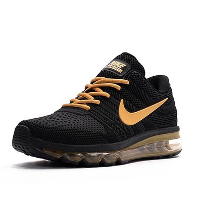online retailer 64835 e6105 Nike Air Max 2017 Men Black Gold Logo Running Shoes