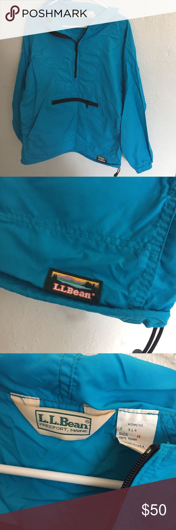 Vintage LL Bean Anorak Windbreaker Vintage bright blue water resistant coat. No rips tears or stains. L.L. Bean Jackets & Coats