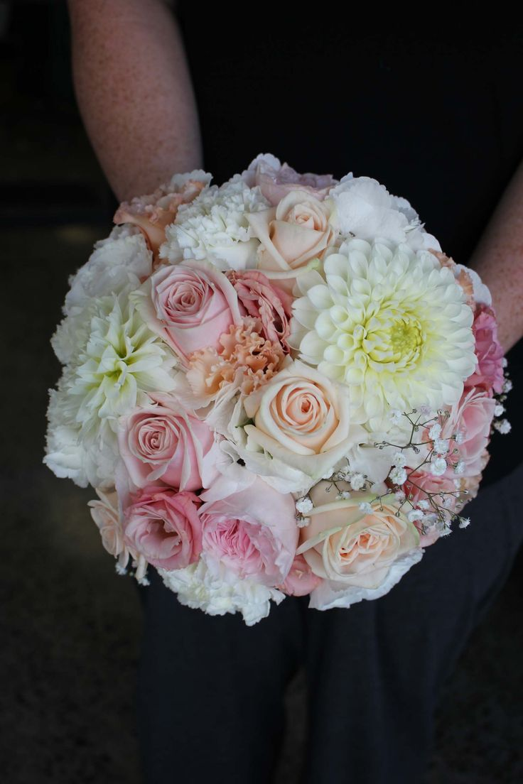 Blush and pink bouquet with roses and dahlia - Romantic wedding flowers made by Amy's Flowers