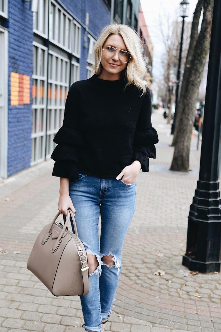 Ruffle Sweater | Distressed Denim