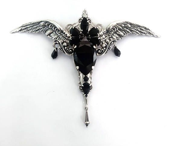 Gothic Necklace Pendant Gothic Jewellery Black Swarovski Goth Necklace Silver Wings Black Pendant // womens mens Vampire Costume  gift