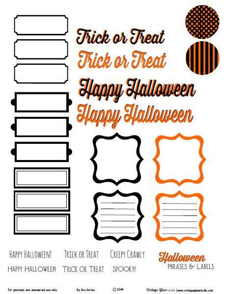 Free printable download of Halloween phrases and labels for your papercrafting use. This printable is available for your personal non-commercial use only.