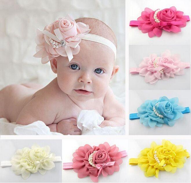 Newborn Cute Baby Pearl Rose Flower Hair Band Chiffon Lace Baby Headband  Ribbon Elasticity Hair Accessories Headwear W075  eb2f03c7aa2a