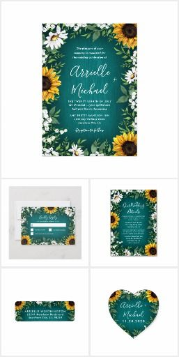 Teal Sunflower Country Wedding Invitations Set Products feature a teal or turquoise barn wood background decorated with watercolor daisies, sunflowers, greenery, baby's breath, and lily of the valley. #sunflowerweddinginvitations #countryweddinginvitations #weddinginvitationsets #weddinginvitationsuites
