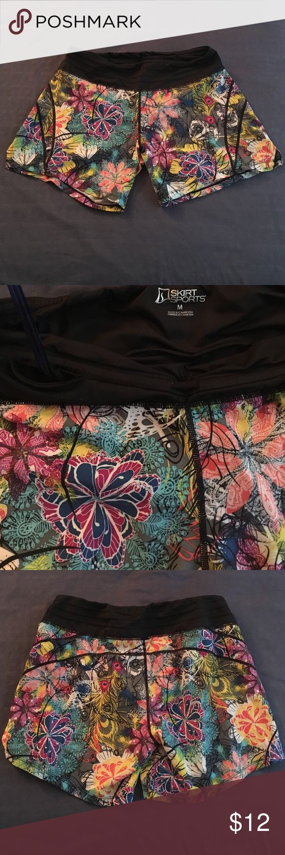 """Tantrum Print Go Longer Shorts Skirt Sports women's M running shorts. 6"""" inseam, built in spankies, continuous drawcord, key pocket in waistband. I personally feel these run large, I normally wear size L/12 in bottoms, but I had to exchange the L for this M, and fits me well. Skirt Sports Shorts"""