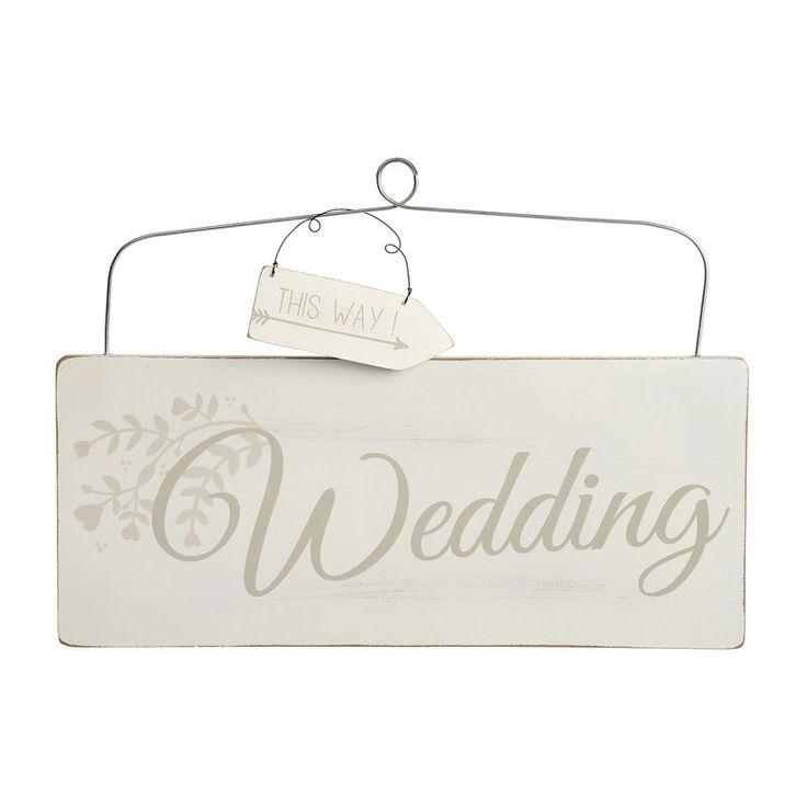 Schild Wedding weiß Mischholz ca B:11,5 x L:27 cm