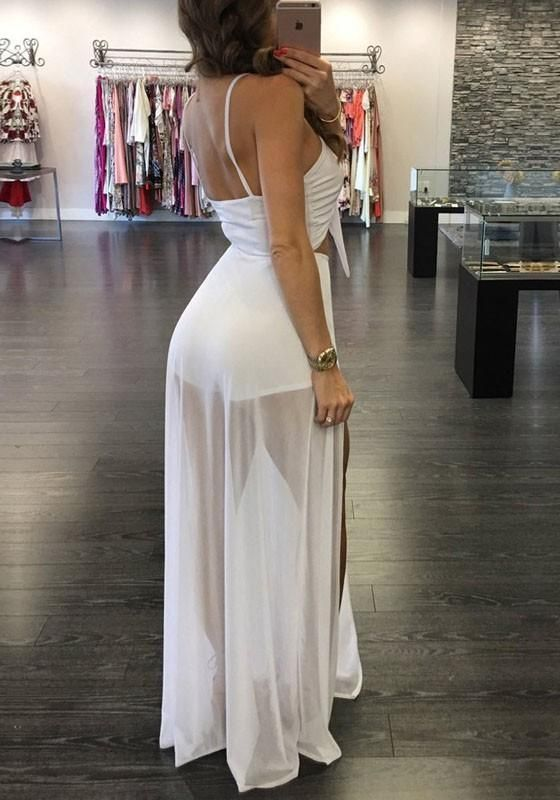 d455911de3 White Lace-up Grenadine Cut Out Spaghetti Strap Short Jumpsuit With Maxi  Overlay