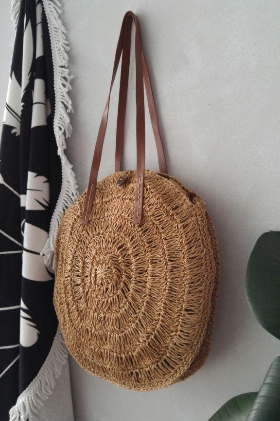 Ψάθινη πλεκτή τσάντα  BAHAMAS  καφέ χρώμα Χειροποίητη στρογγυλή ψάθινη  τσάντα σε καφέ χρώμα. Με λουράκια από δερματίνη σε καφ… e878e85e49e