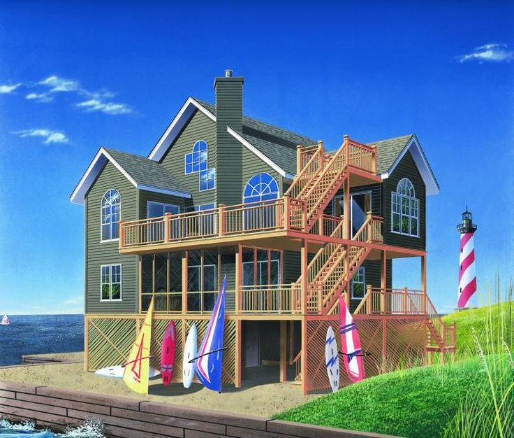45 best coastal house plans images on pinterest coastal for Beach house plans roof deck